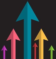 Arrows Upwards Paper Colorful Arrow Group on Dark vector image vector image