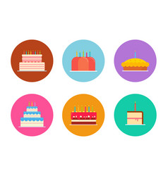 cakes and pies set vector image vector image