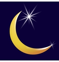 Crescent moon and star icon vector image vector image