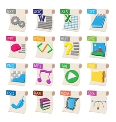 File format icons set cartoon style vector image