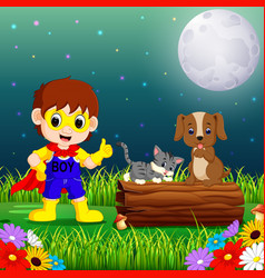 Happy super hero boy at night in the park with pet vector