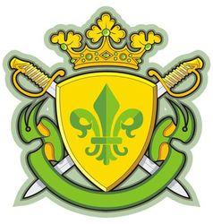 heraldic shield ribbons crown and sword vector image vector image
