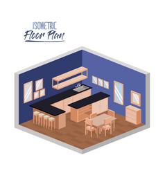 isometric floor plan of wide home kitchen room vector image