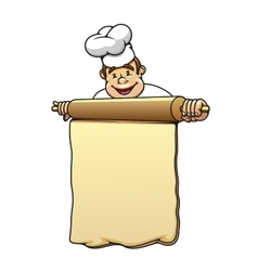 Baker with rolling pin and dough vector image vector image