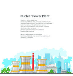 flyer nuclear power plant on white background vector image vector image
