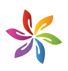 Hands teamwork flower logo vector image