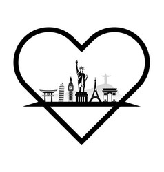landmarks of the world in the form of heart vector image vector image