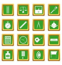 Measure precision icons set green vector