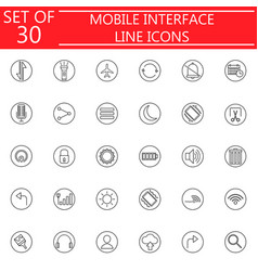 mobile interface line icon set vector image vector image