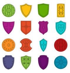 shield frames icons doodle set vector image vector image