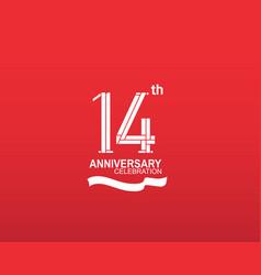 14 anniversary logotype flat design white color vector
