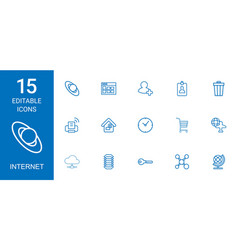 15 internet icons vector
