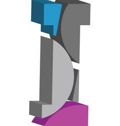3d font letter i vector image