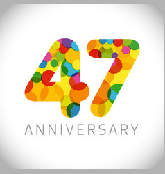 47 years anniversary circle colorful logo vector