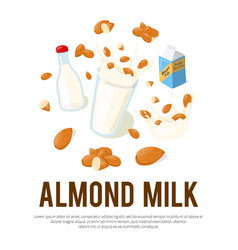 almond milk advertisement flyer with place for vector image