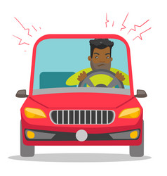 Angry black man in car stuck in traffic jam vector