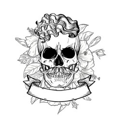 angry skull with hairstyle and moustaches vector image
