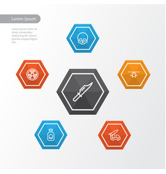 Army outline icons set collection of cranium vector