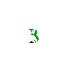 b letter leaf logo vector image