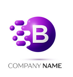 b letter splash logo purple dots circle bubble vector image