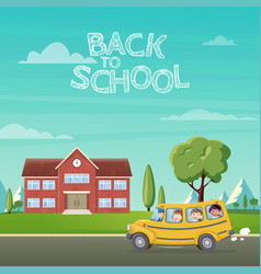 back to school school bus with vector image