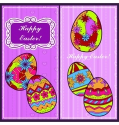 Backgrounds set with easter eggs vector image