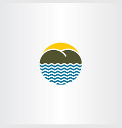 Beach island logo icon sign vector