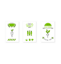 Bio product logo design vegetarian food badges vector