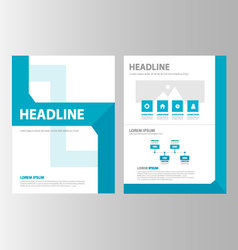 Blue geometric brochure flyer leaflet layout vector