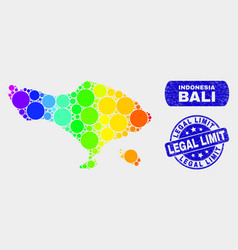 Bright mosaic bali map and scratched legal limit vector