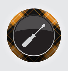 Button orange black tartan - screwdriver icon vector
