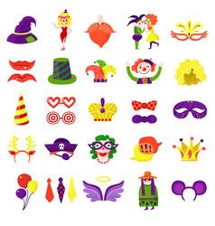 carnival masquerade big colorful set vector image
