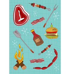 Cartoon barbecue icons set vector