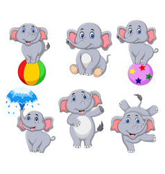 Cartoon elephants collection with different action vector