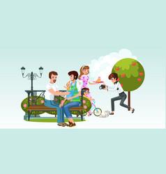 cartoon picture consist two happy families vector image