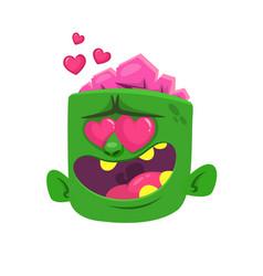cartoon zombie in love vector image