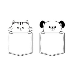 Cat dog face in the pocket holding hands doodle vector