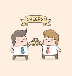 Cheers two hands holding two beer bottles vector