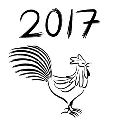 Chicken chinese brush drawing new year vector