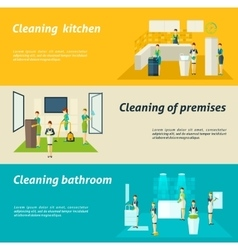 Cleaning In Rooms Flat Banners Set vector