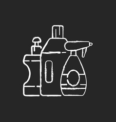 Cleaning products chalk white icon on black vector
