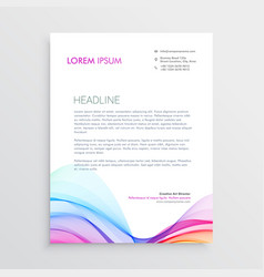 colorful letterhead design template with wavy vector image