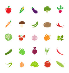 colorful vegetable silhouettes vector image