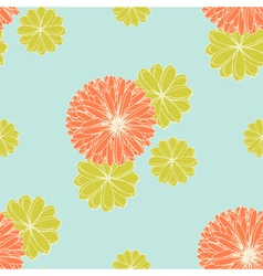 Coral and Yellow Green Flowers Pattern vector