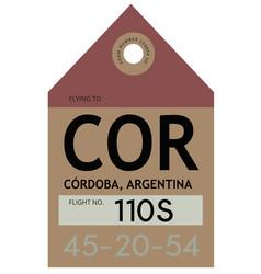 Cordoba airport luggage tag vector
