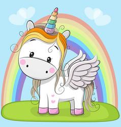 cute cartoon unicorn on the meadow vector image