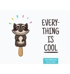 Cute raccoon popsicle ice vector