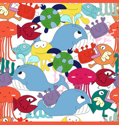 cute under the see cartoon seamless pattern vector image