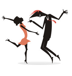 dancing young couple silhouette vector image