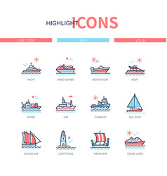 different ships - line design style icons set vector image
